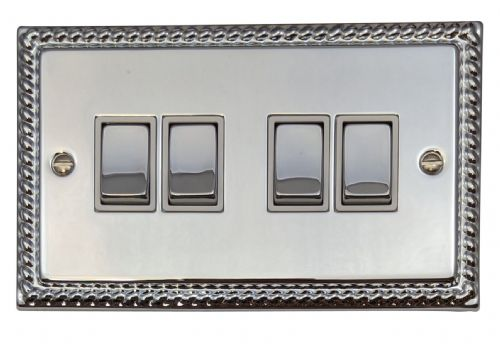G&H MC204 Monarch Roped Polished Chrome 4 Gang 1 or 2 Way Rocker Light Switch